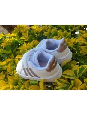 Scarpe ADIDAS Bambino e Bambina doppio strappo Bianco/Oro Sneakers